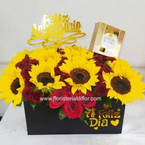 Caja alargada decorada con girasoles y chocolates