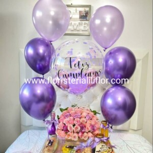 Desayuno sorpresa bello ramos de rosas globo burbuja y globos en helio